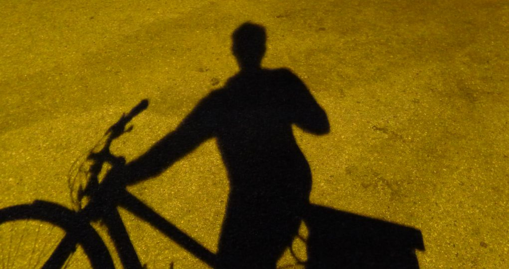 Shadow selfie on bike