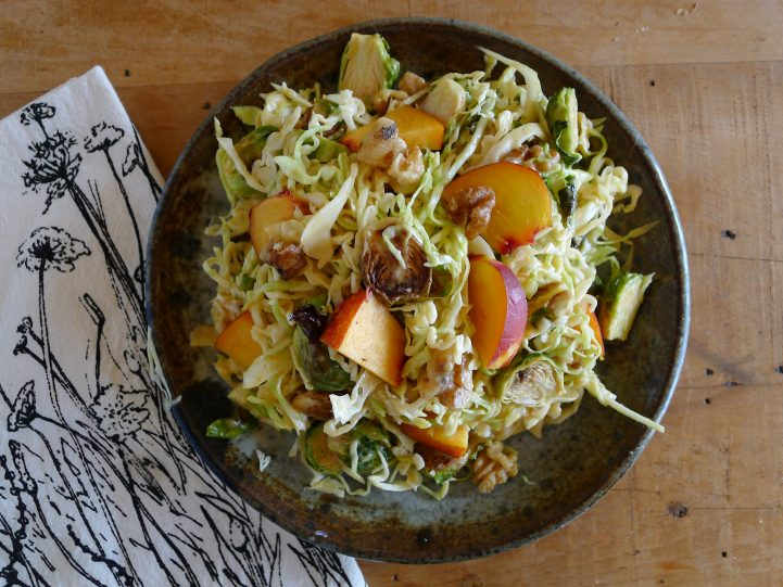 peach cabbage brussel sprouts salad