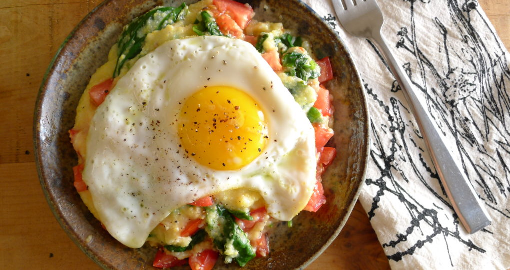 polenta spinach tomatoes egg