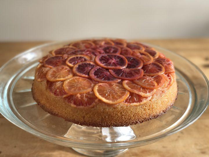 Blood orange cake on stand