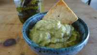 hatch chile hummus with cracker