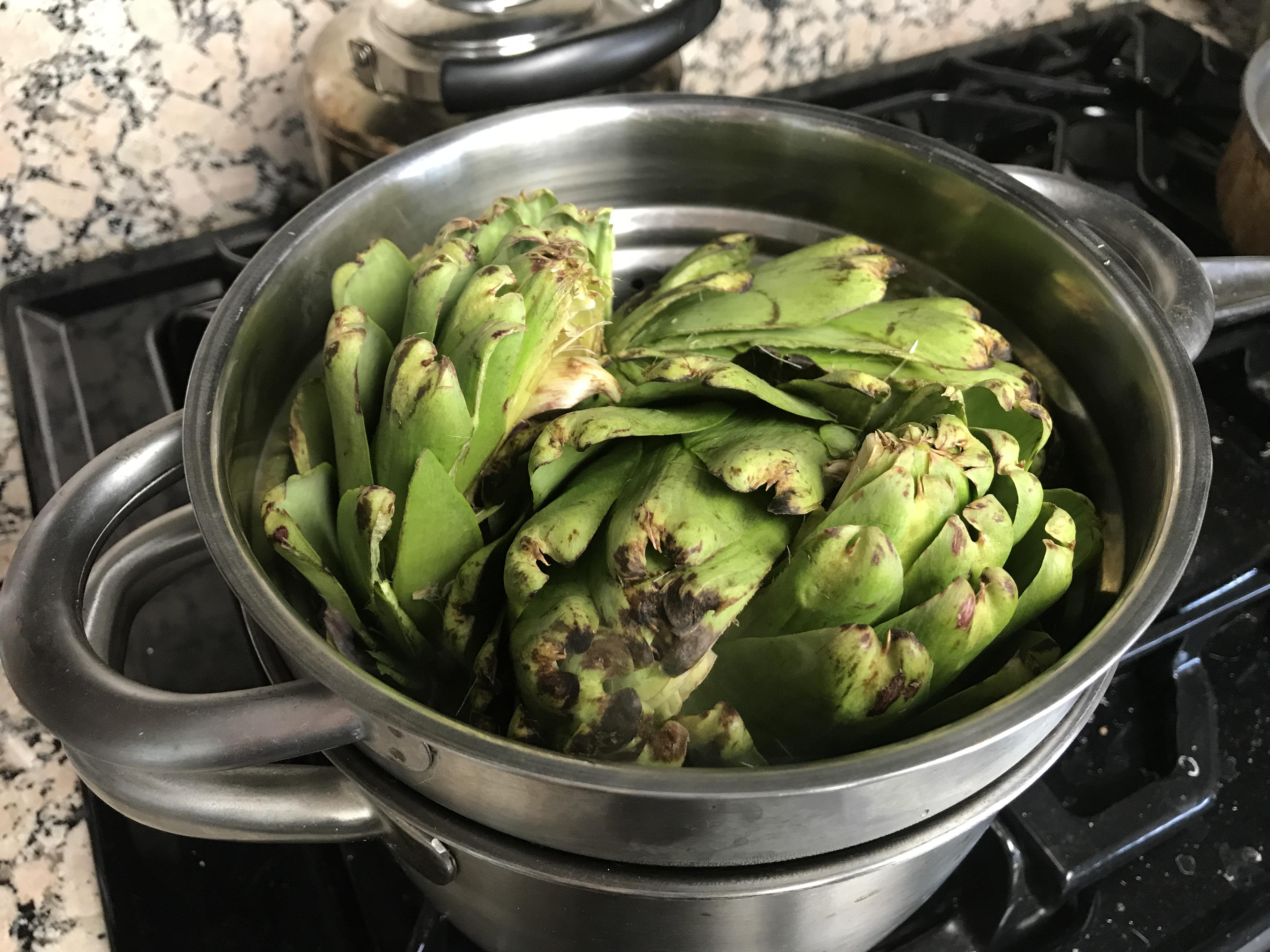 Steaming artichoke