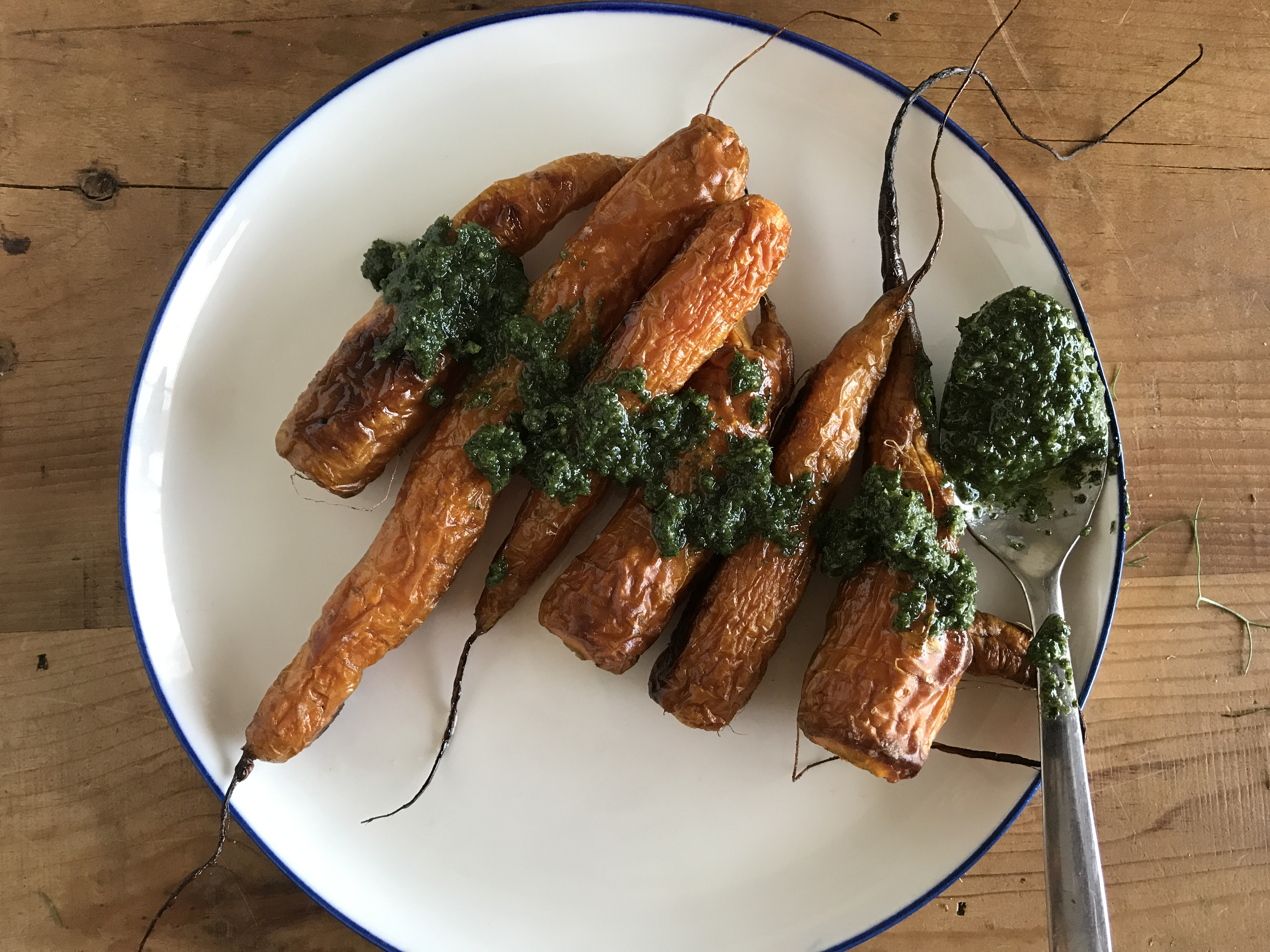 carrots with carrot top pesto