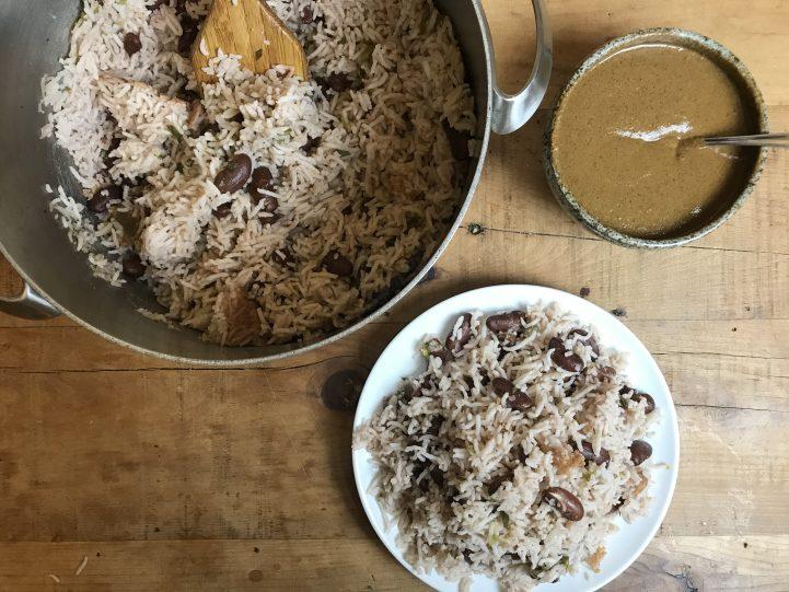 Jamaican peas and rice with jerk sauce