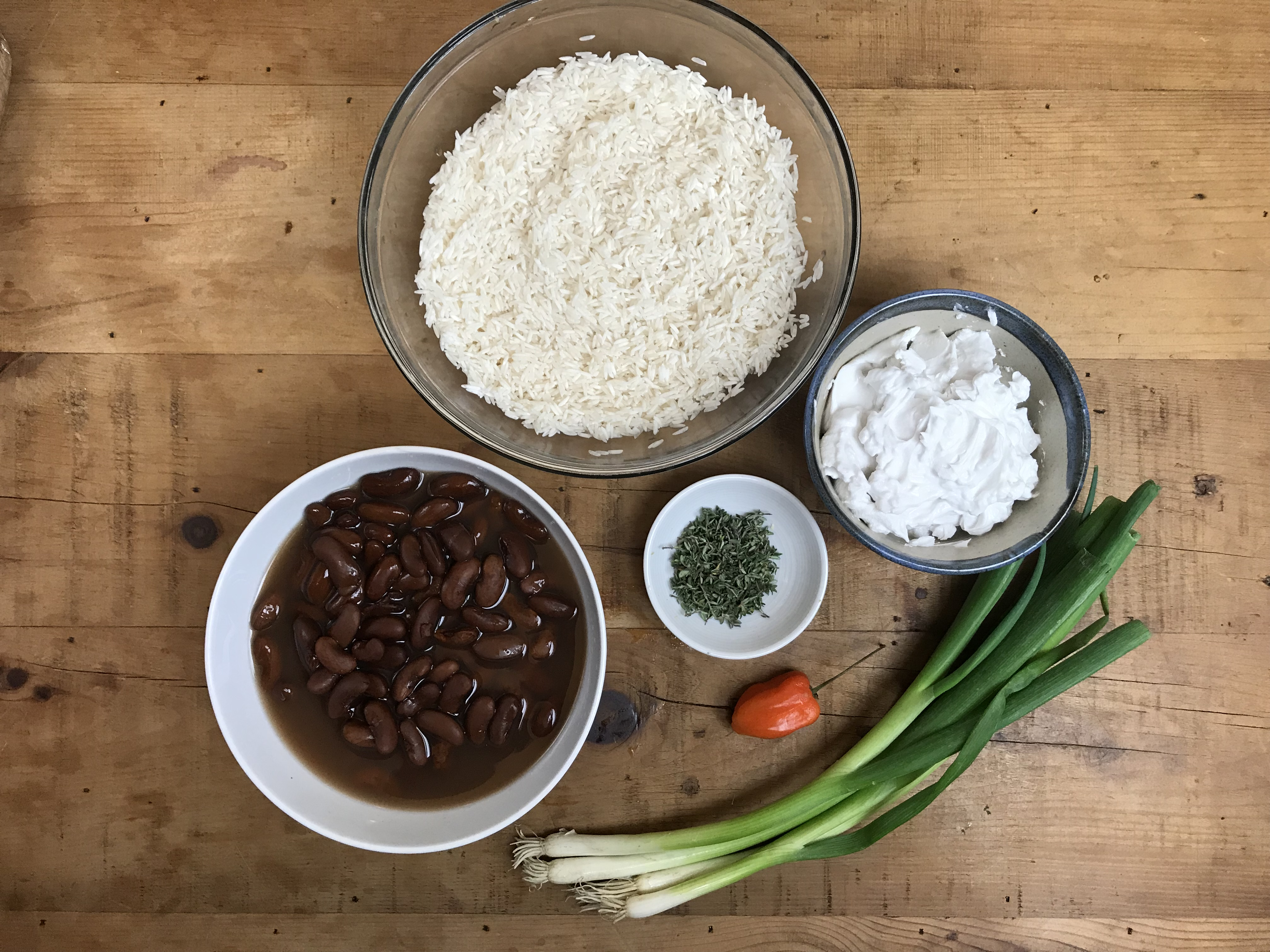 ingredients for peas and rice